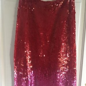 French Connection Red Ombré Sequin Pencil Skirt